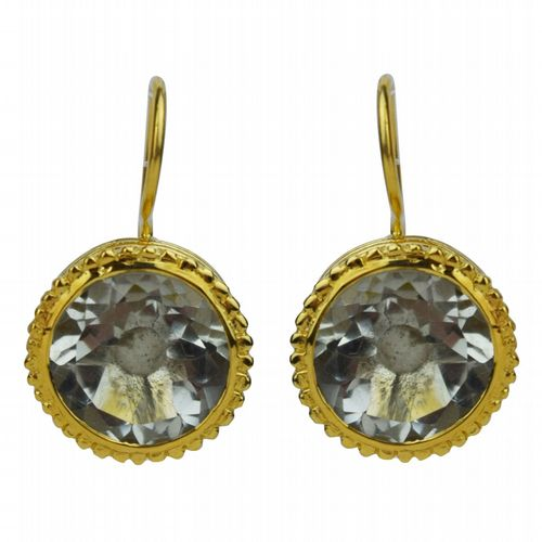 Circular Drop Earrings - Gold & Prasiolite